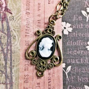 Dainty Cameo & Antique Brass Scroll Work Necklace
